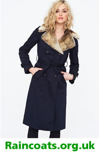 Fearne Cotton Navy Trench Coat with Faux Fur Collar