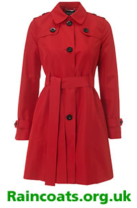 Long red ladies mac by Hobbs from John Lewis
