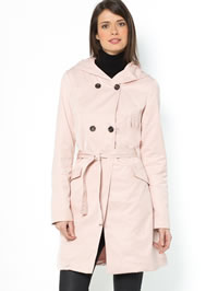 Soft pink ladies raincoat with a hood from La Redoute